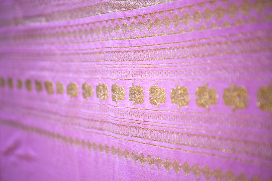 Handcrafted Candy Pink Throw-Gold Hand of Fatima_1