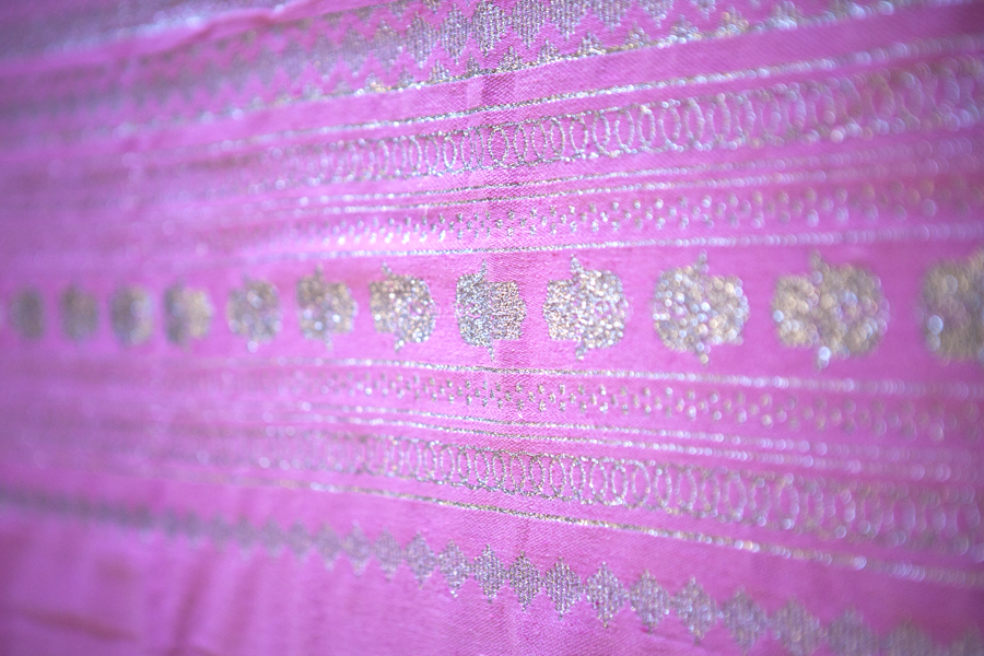 Handcrafted Candy Pink Throw-Silver Hand of Fatima_1