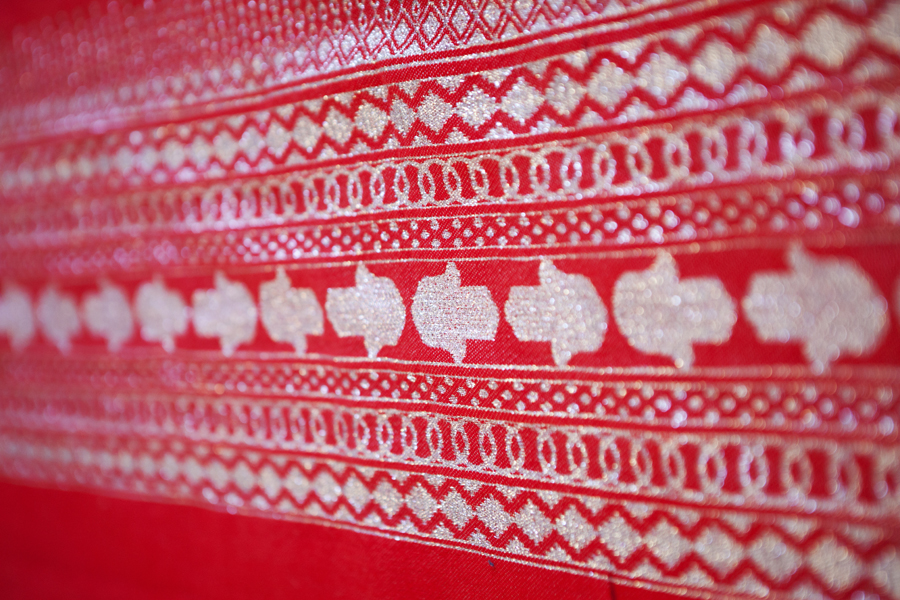 Handcrafted Coral Red Throw-Silver Hand of Fatima_1