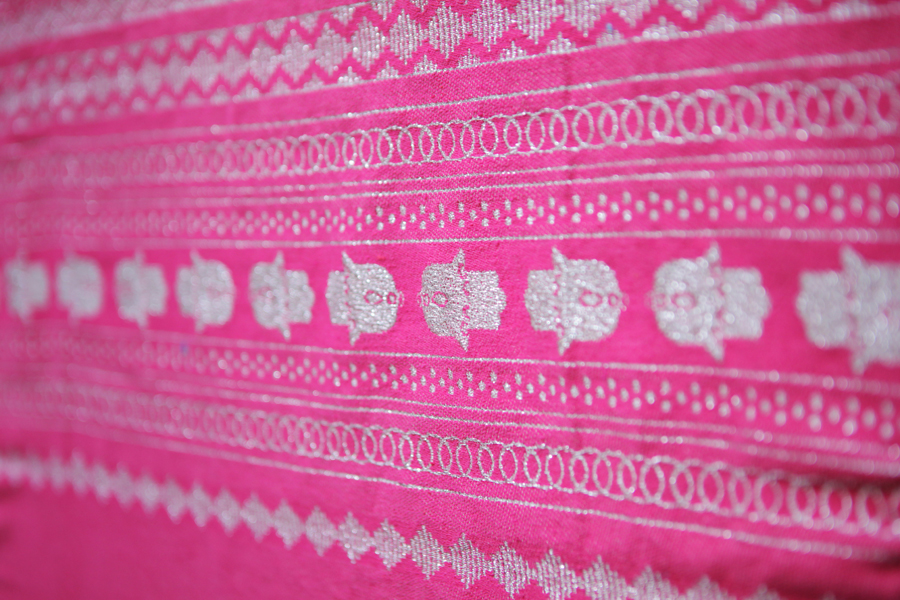 Handcrafted Hot Pink Throw-Silver Hand of Fatima_1