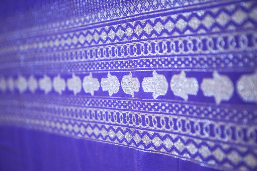 Handcrafted Purple Throw-Silver Hand of Fatima_1