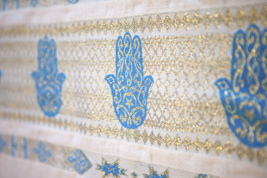 Handcrafted White Throw-Royal Blue Hand of Fatima_1