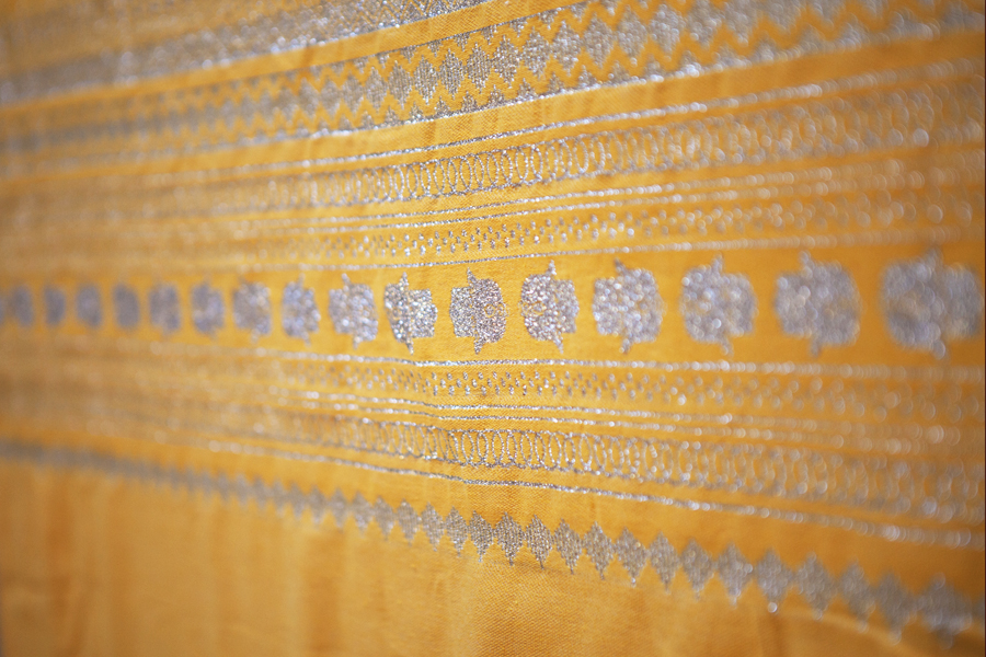 Handcrafted Yellow Throw-Silver Hand of Fatima_1