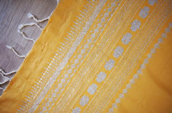 Handmade Yellow Throw-Silver Hand of Fatima (2.5m x 1.5m)